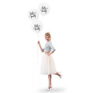 "17"" White ""Let's Party"" Wedding Balloons"