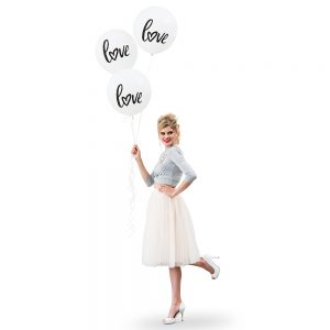 "17"" White ""Love"" Wedding Balloons"