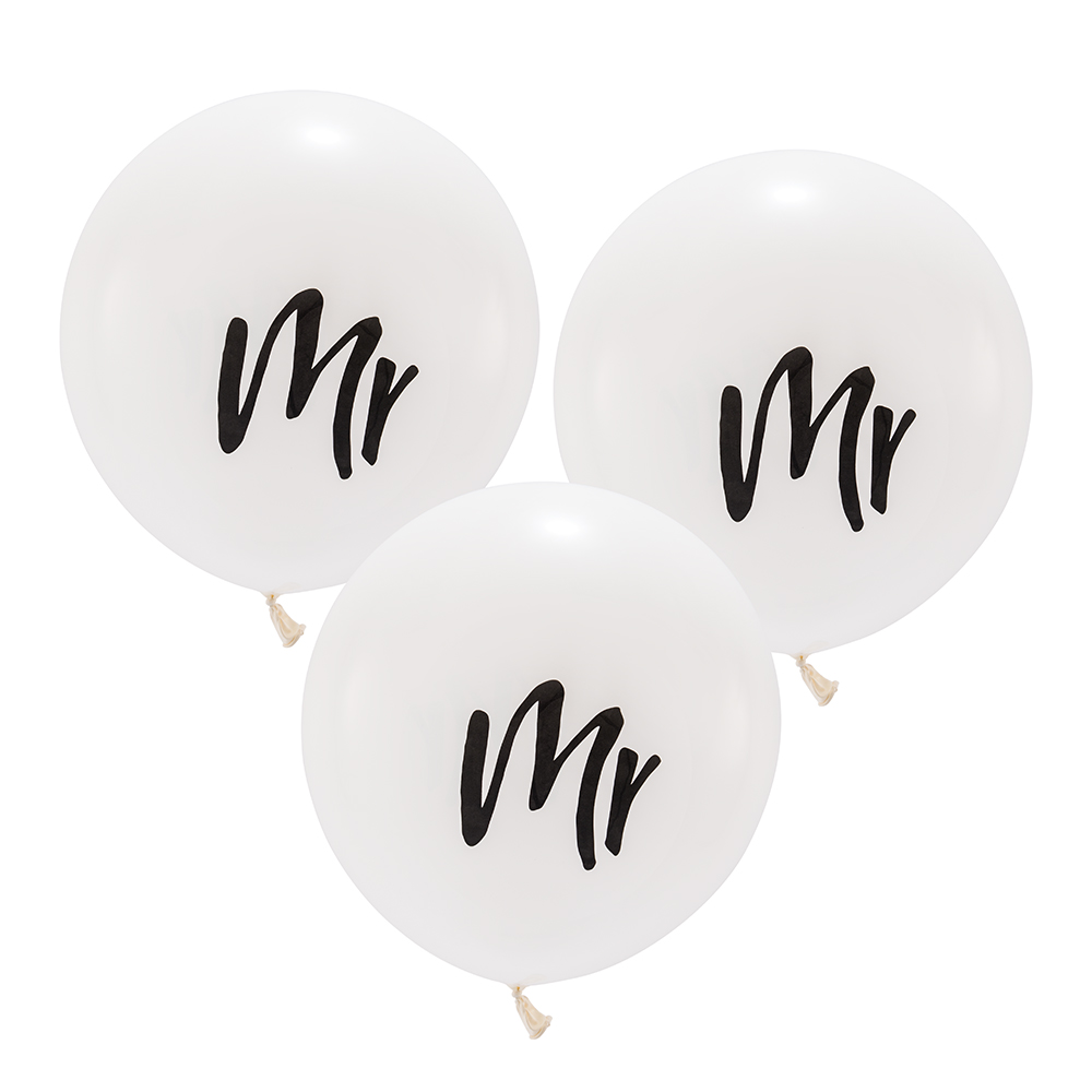 "17"" White ""Mr"" Wedding Balloons"