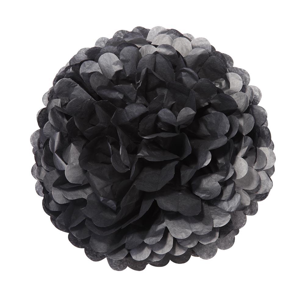 3 x Large Black Pom Poms