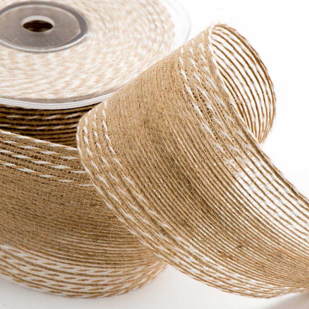 50mm Stitched Hessian Ribbon
