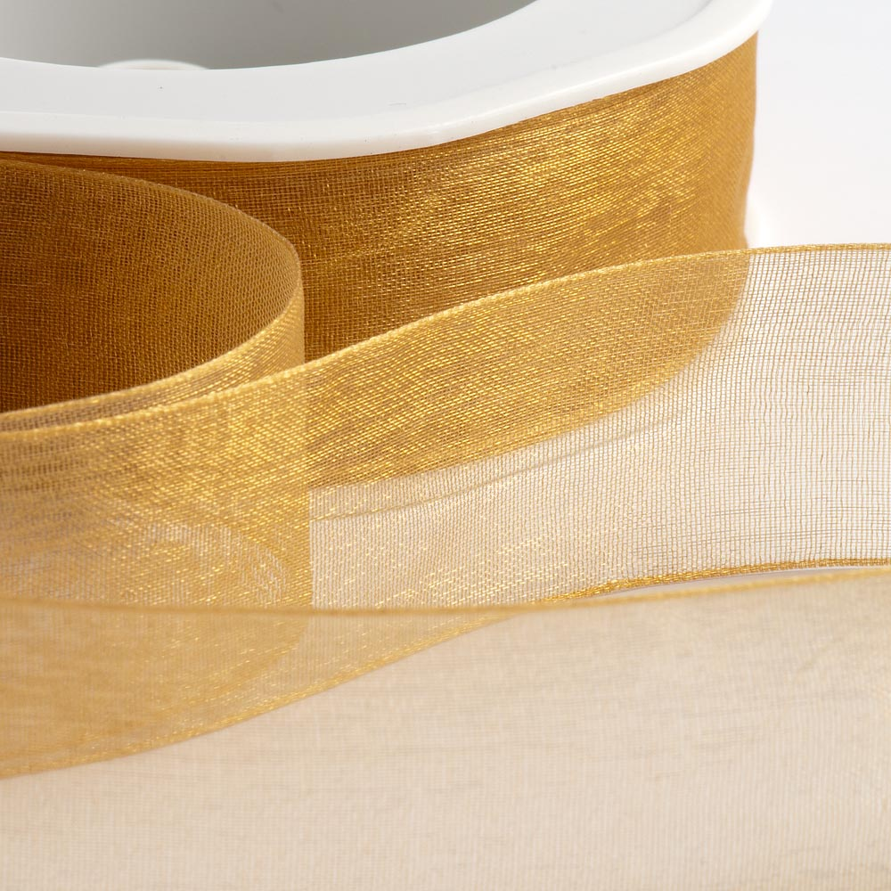 7mm Antique Gold Organza Ribbon 50M