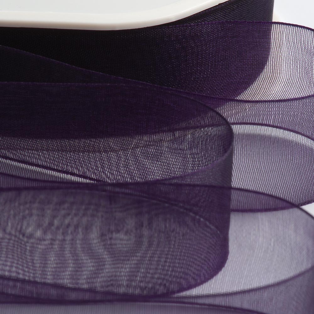 7mm Aubergine Organza Ribbon 50M