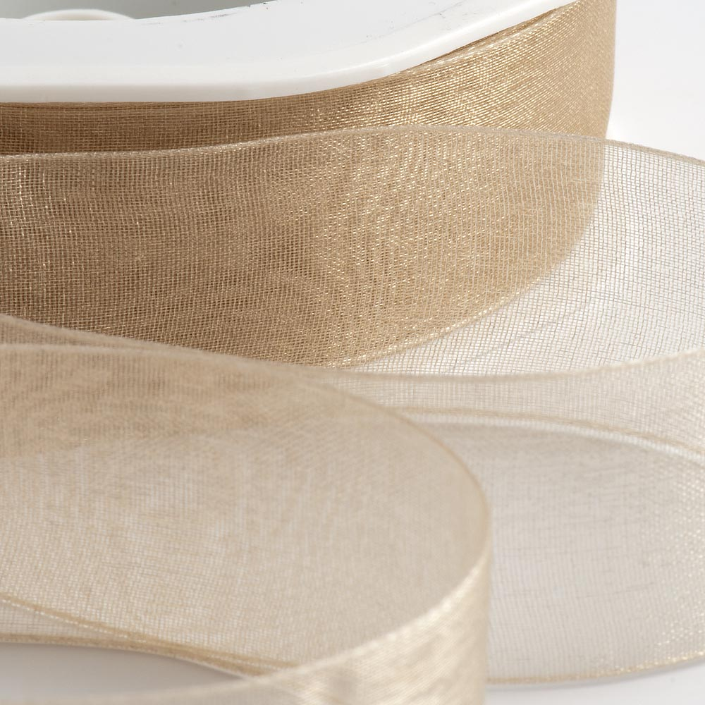 7mm Beige Organza Ribbon 50M