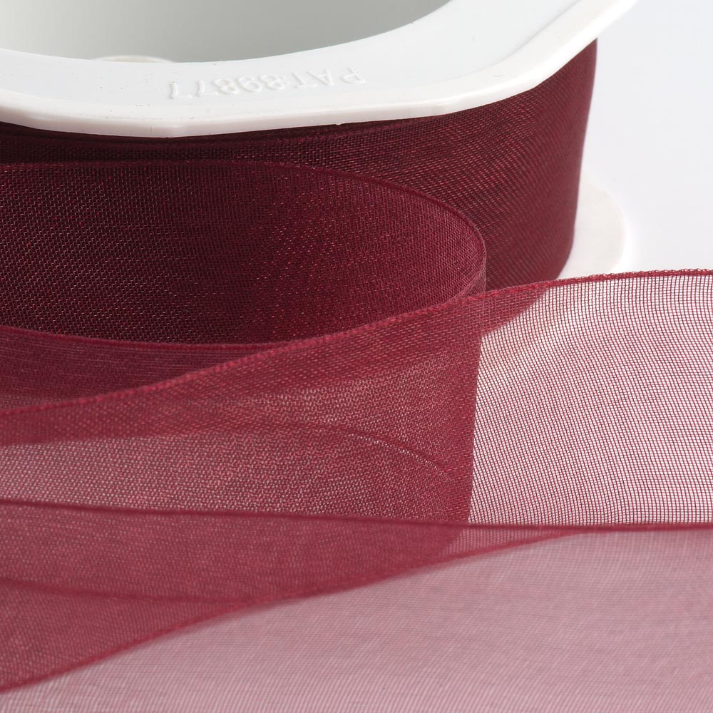 7mm Bordeaux Organza Ribbon 50M