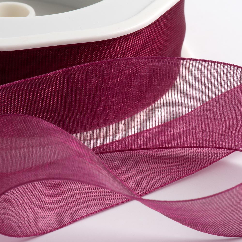 7mm Dark Raspberry Organza Ribbon 50M