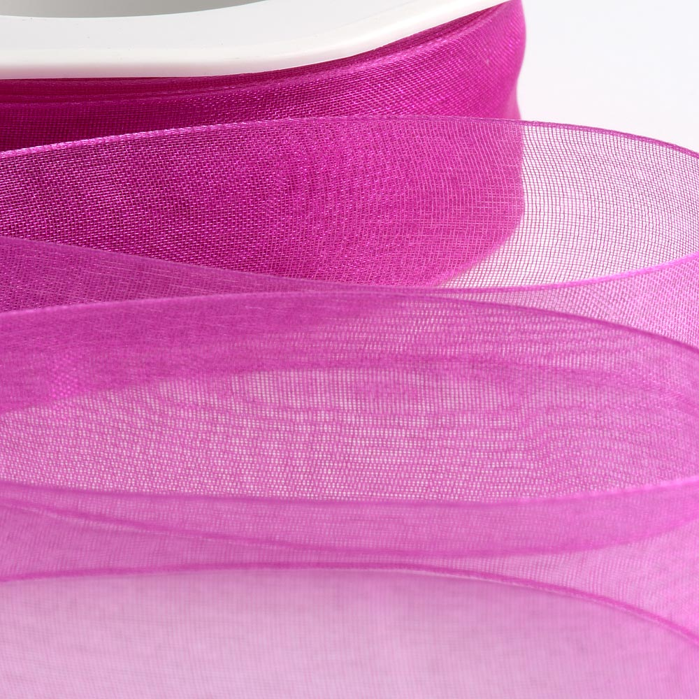 7mm Magenta Organza Ribbon 50M