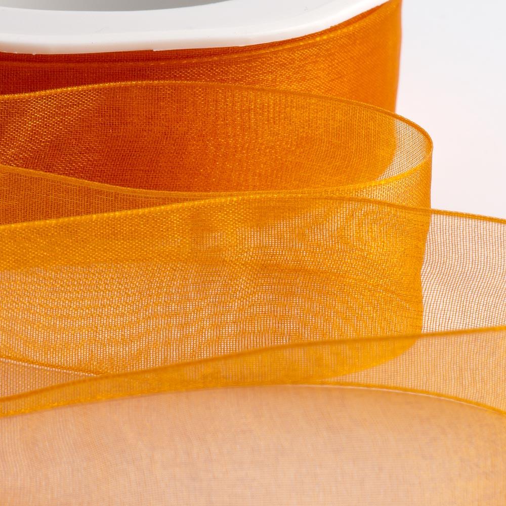 7mm Orange Organza Ribbon 50M