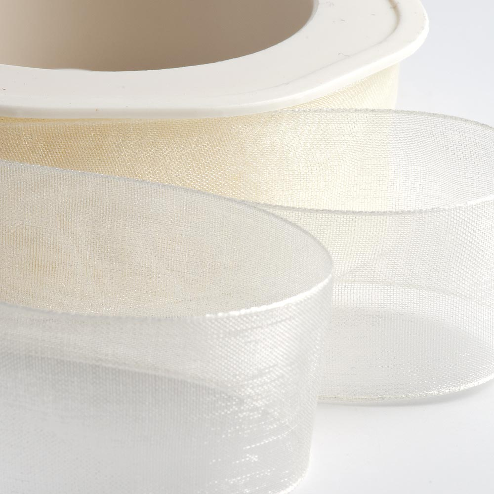 7mm Pale Ivory Organza Ribbon 50M