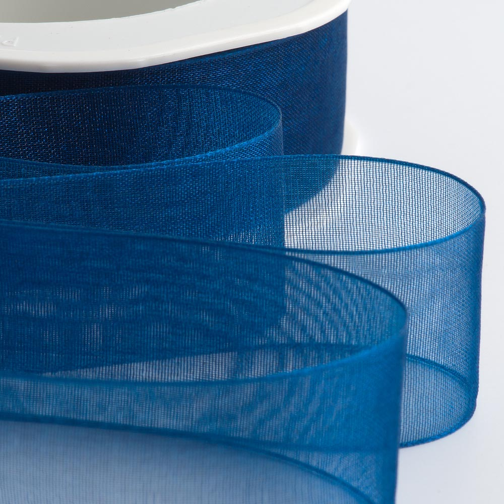 7mm Royal Blue Organza Ribbon 50M