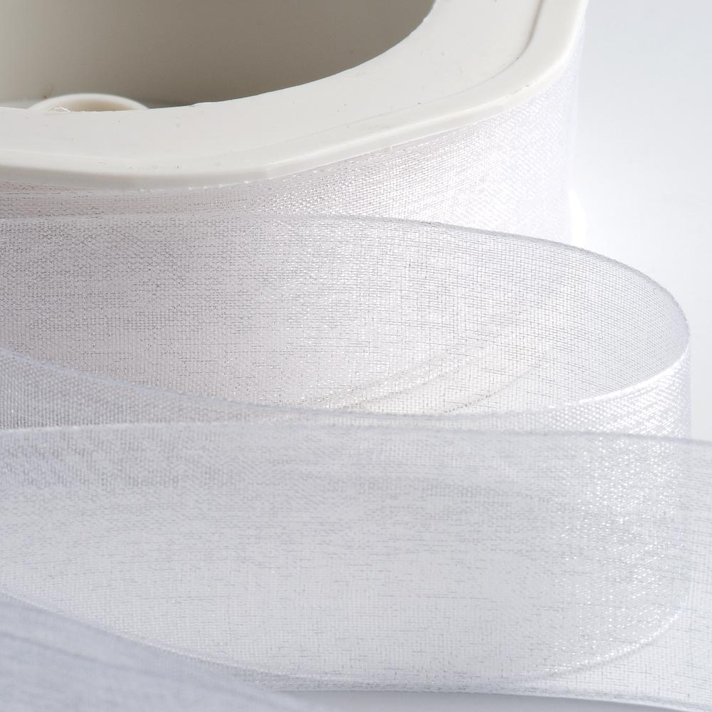 7mm White Organza Ribbon 50M