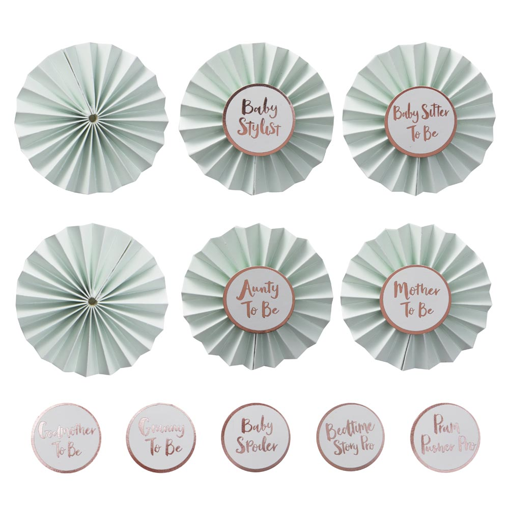 Baby Shower Badges In Mint & Rose Gold