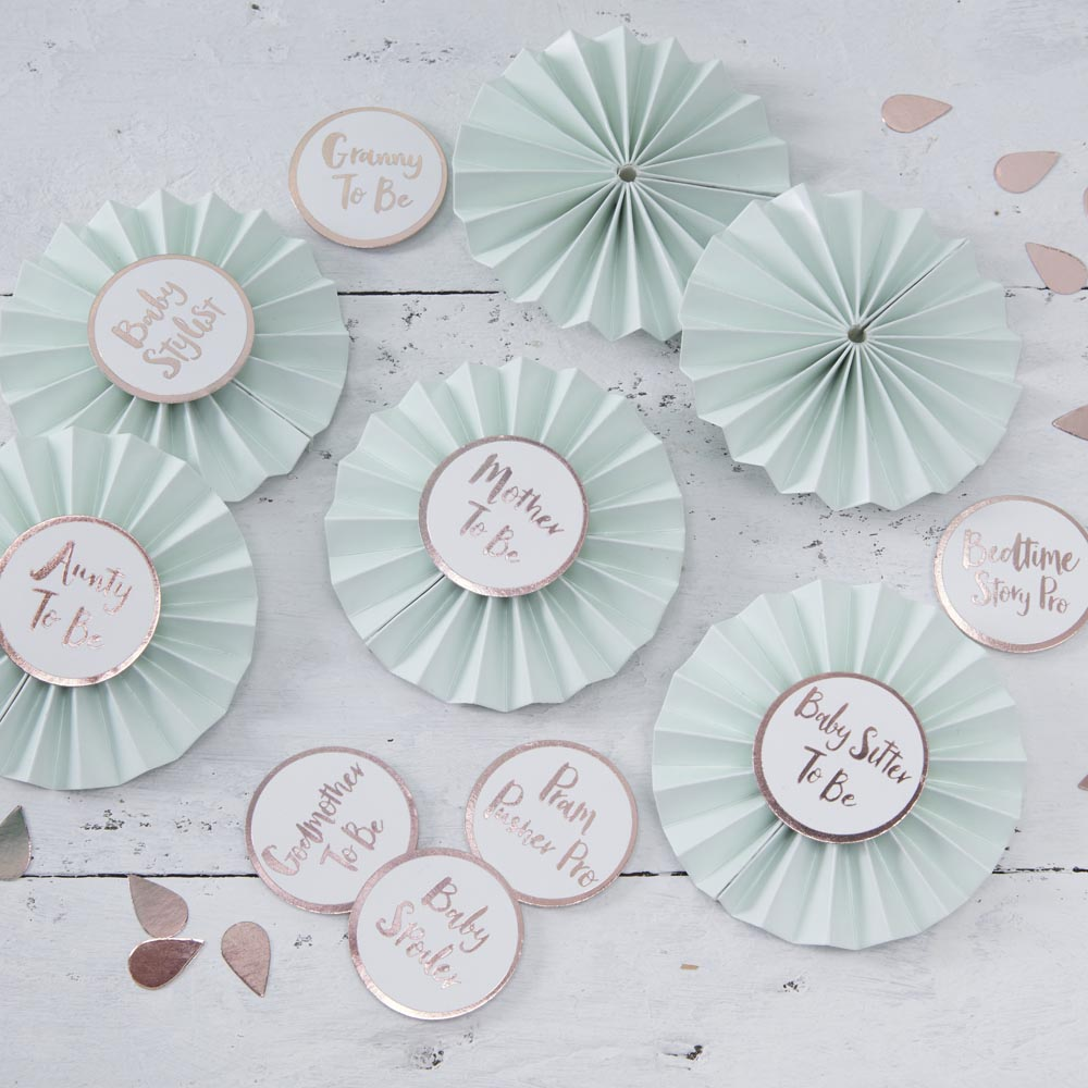 Baby Shower Badges In Mint & Rose Gold