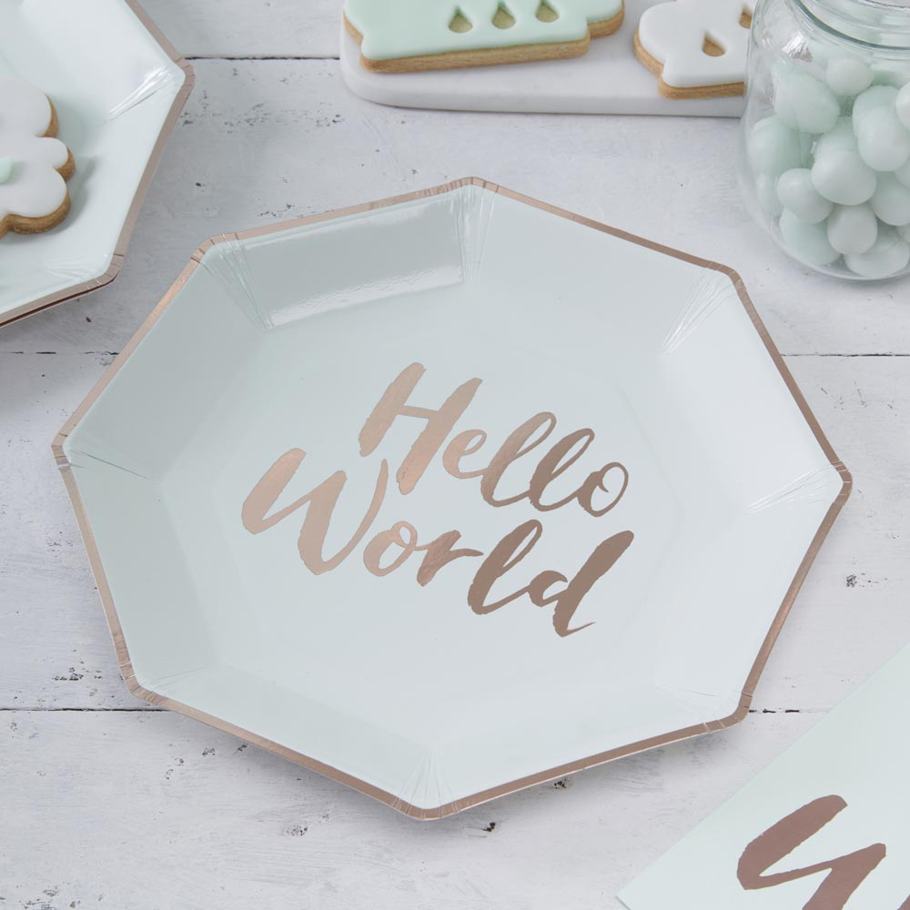 Mint & Rose Gold Paper Plates
