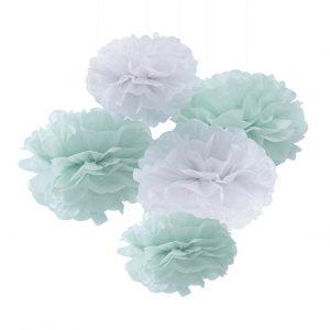 Mint & White Tissue Paper Pom Poms