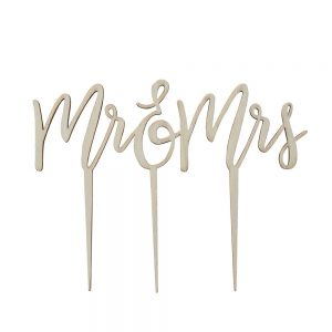 Wooden Mr & Mrs Cake Topper