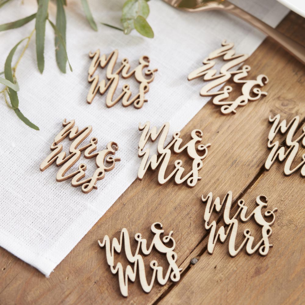 Mr & Mrs Wooden Table Confetti