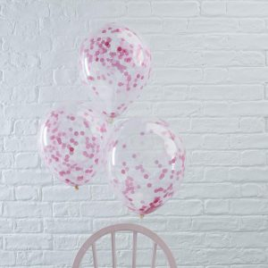 Pink Confetti Filled Balloons