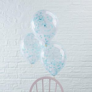 Blue Confetti Filled Balloons