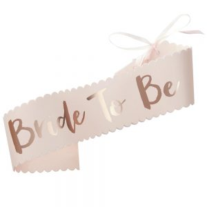 Pink & Rose Gold Bride To Be Sash