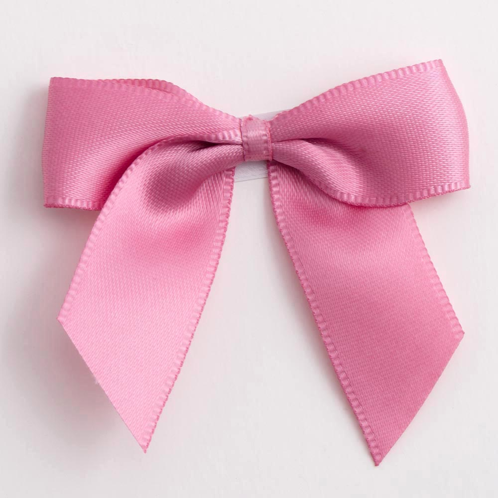 Antique Pink Satin Bows 12 Pack