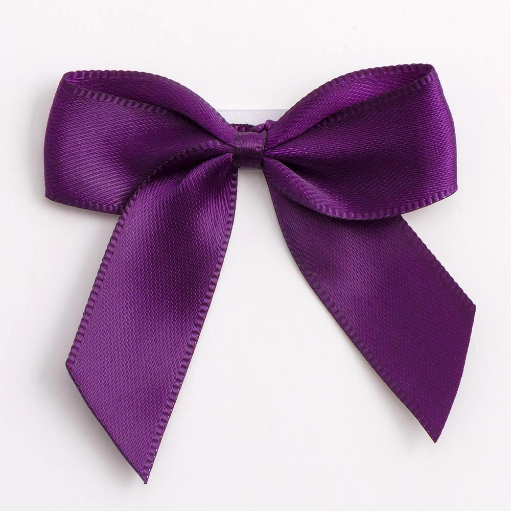 Aubergine Satin Bows 12 Pack