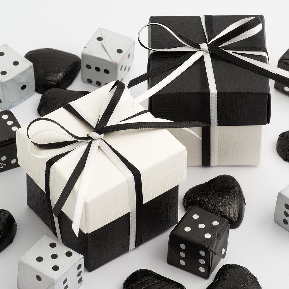 Black & White Silk Square Box and Lid