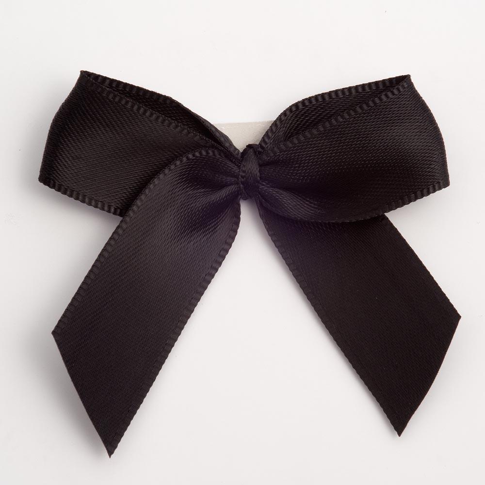 Black Satin Bows 12 Pack