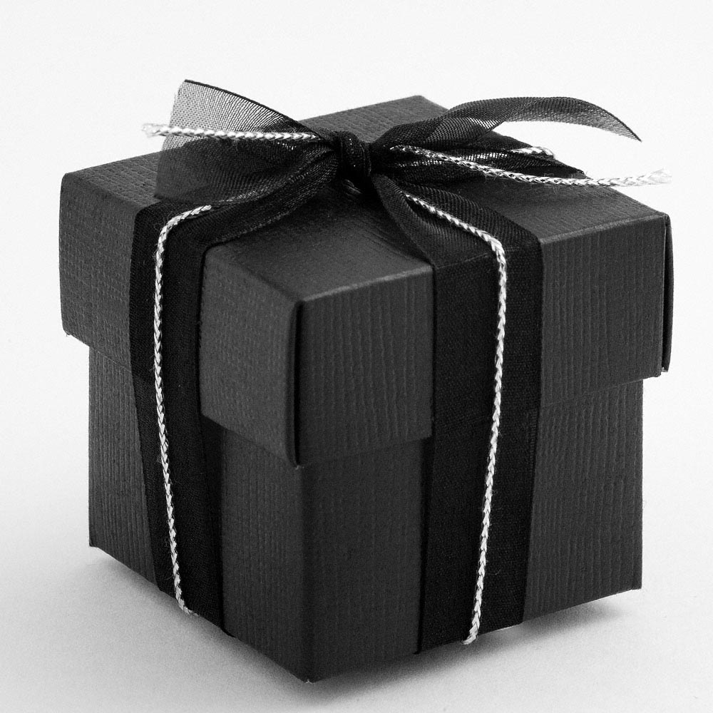Black Silk Square Favour Box with Lid