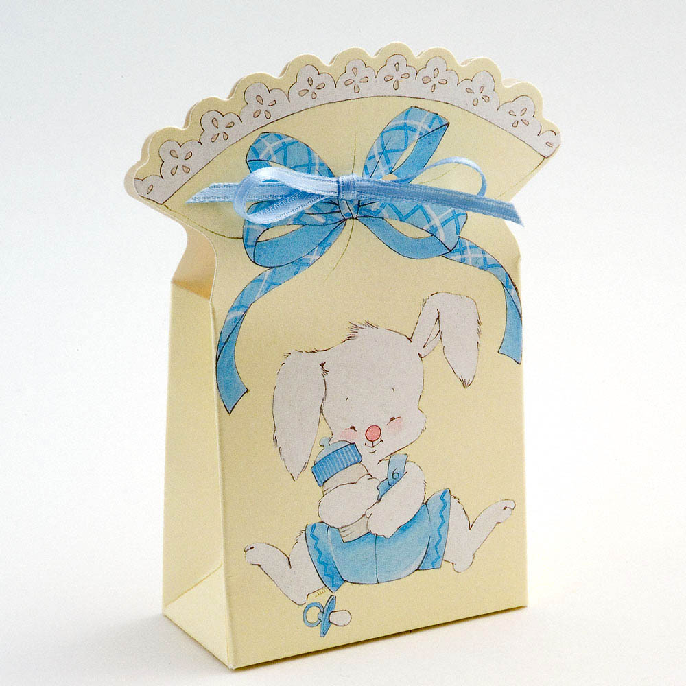 Blue/Cream Rabbit and Bottle Favour Box