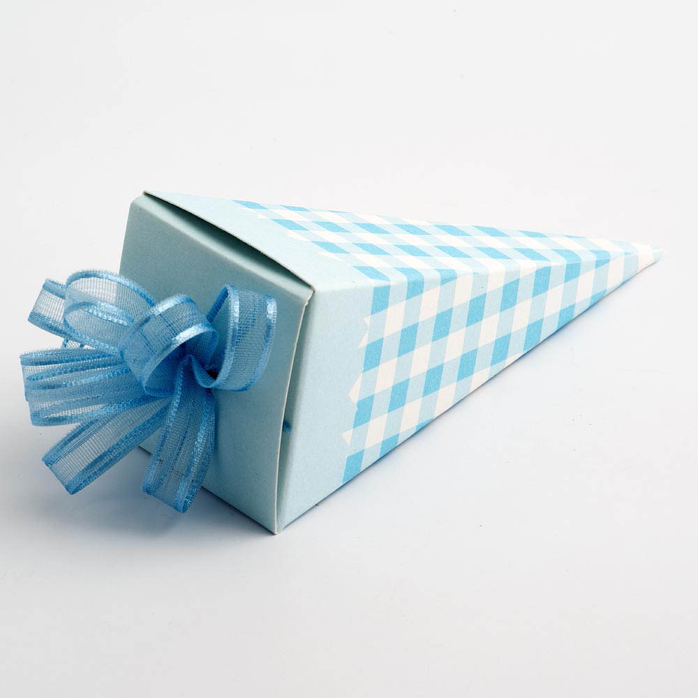 Blue Gingham Cone Favour Box