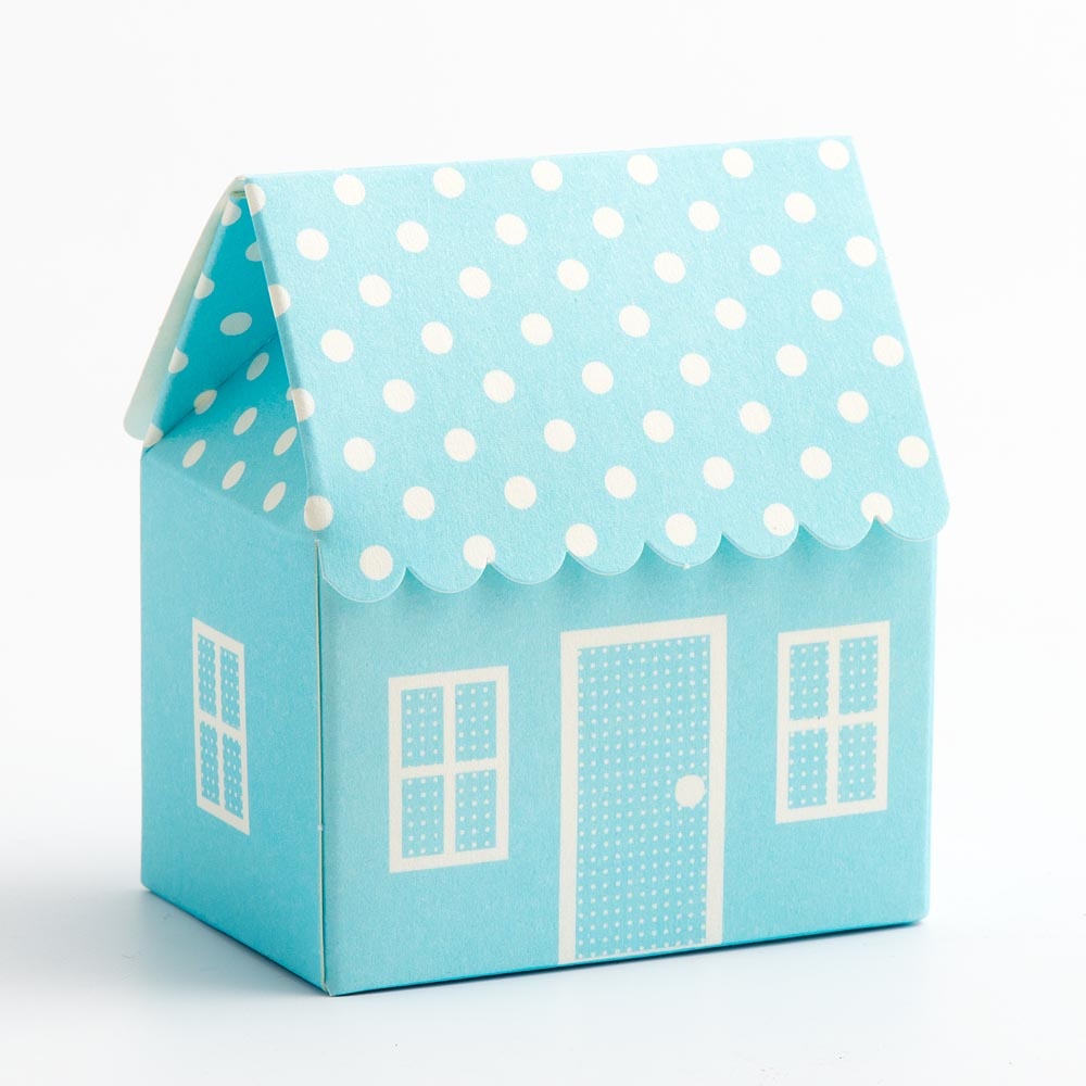 Blue Polka Dot House Favour Box