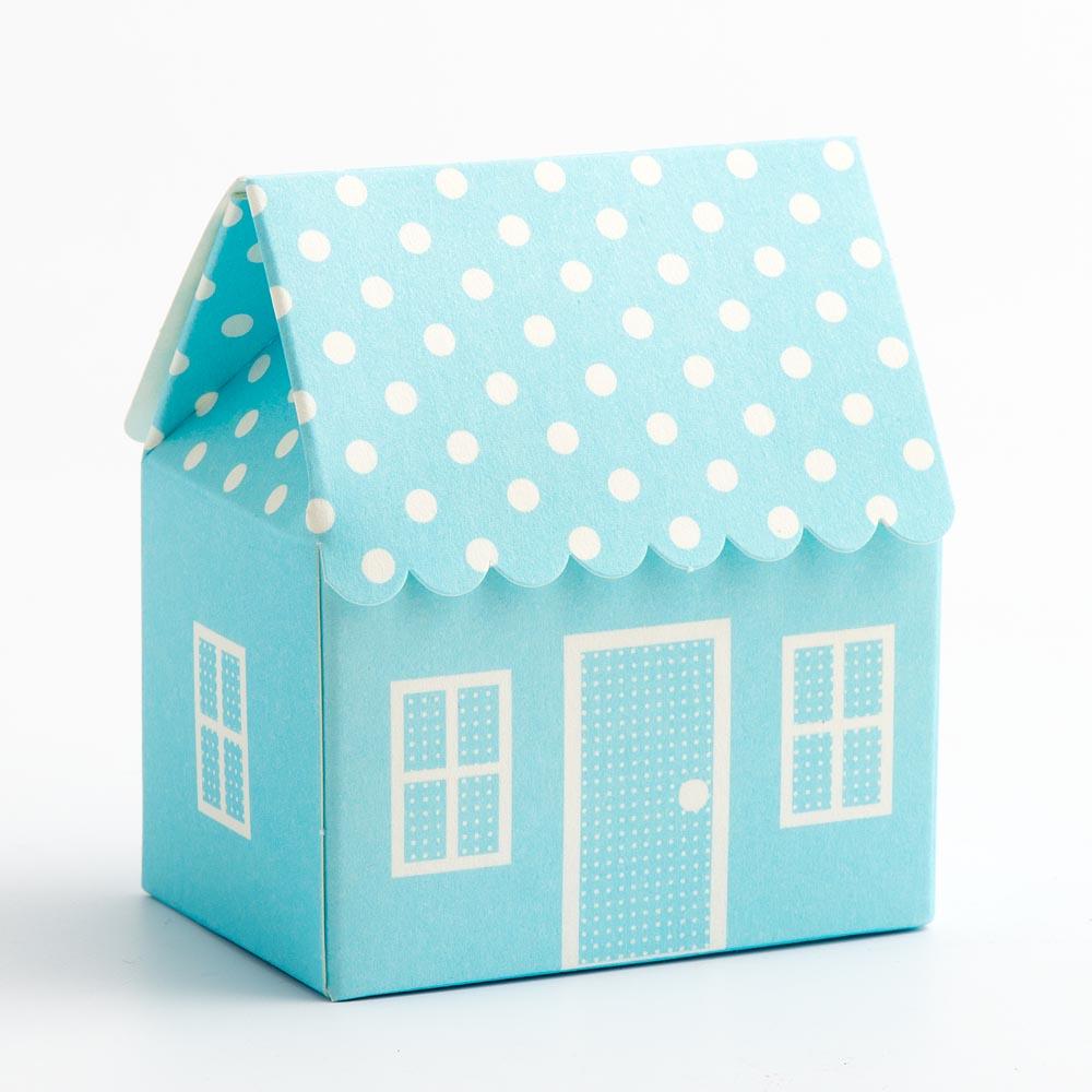 Blue Polka Dot House Favour Box