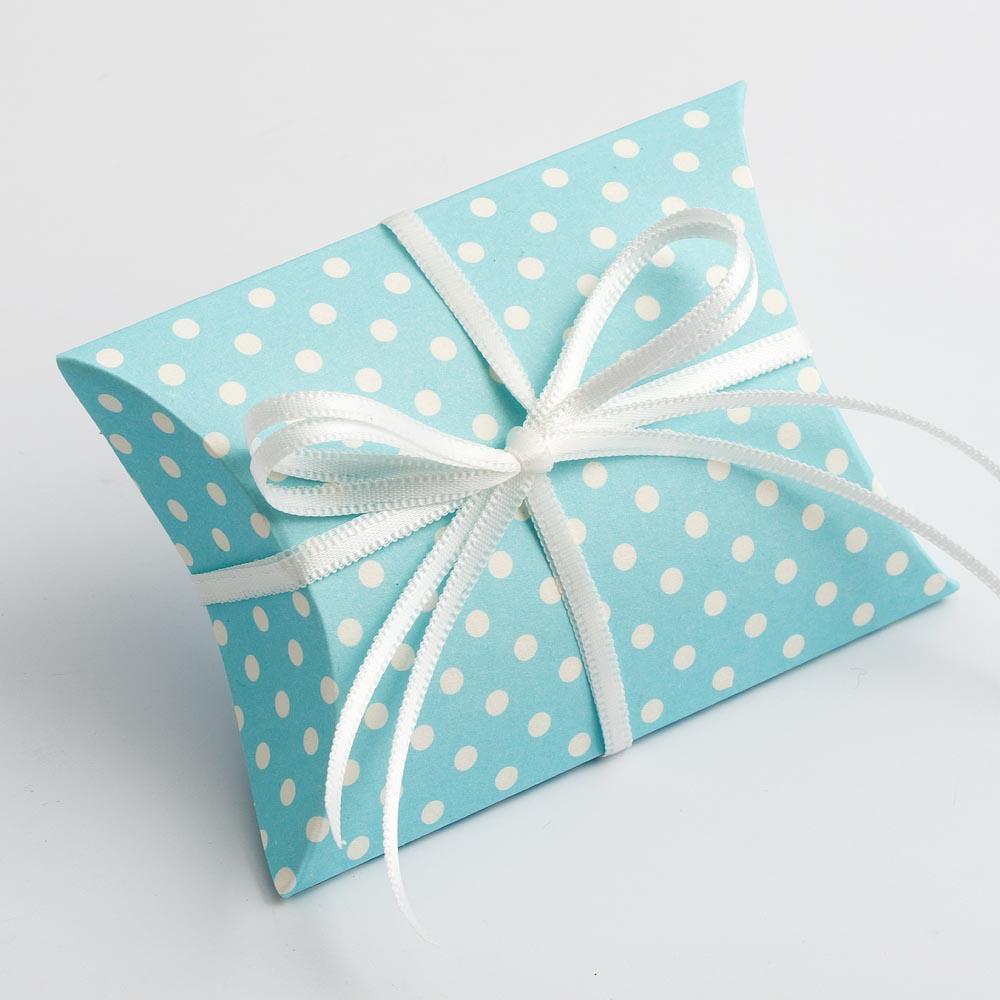 Blue Polka Dot Pillow Favour Box