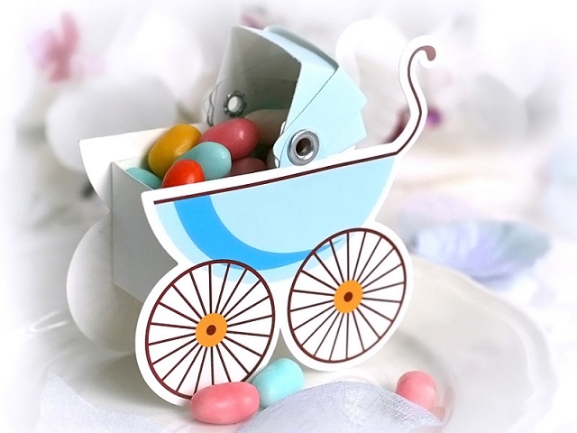 Blue Pram Favour Boxes x 10