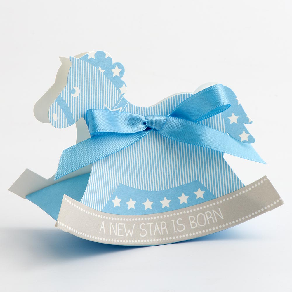 Blue Rocking Horse Favour Box