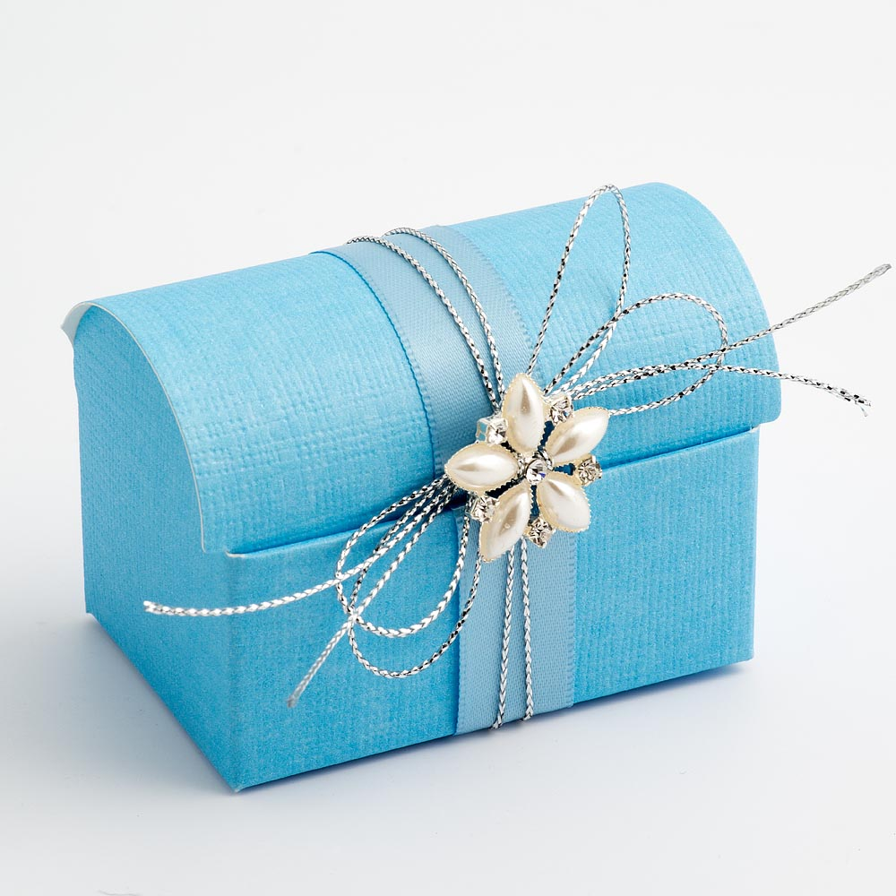 Blue Silk Cofanetto Favour Box