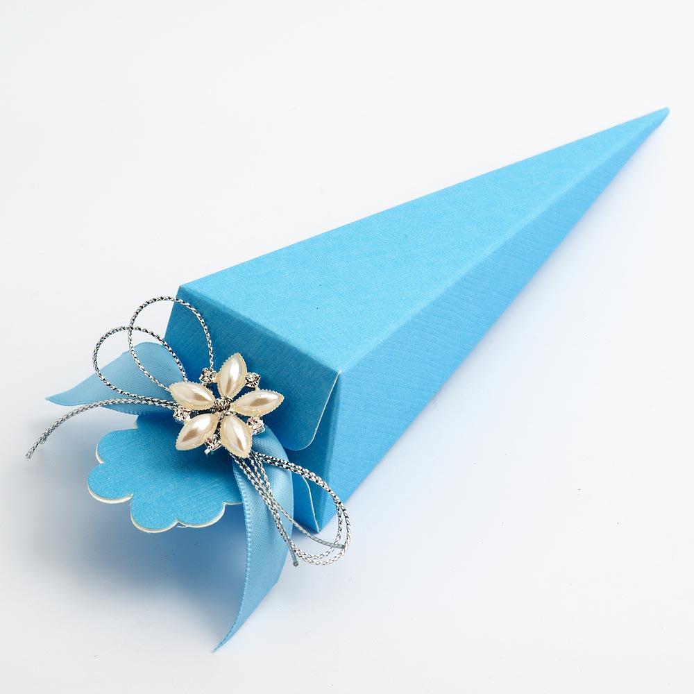 Blue Silk Cone Favour Box