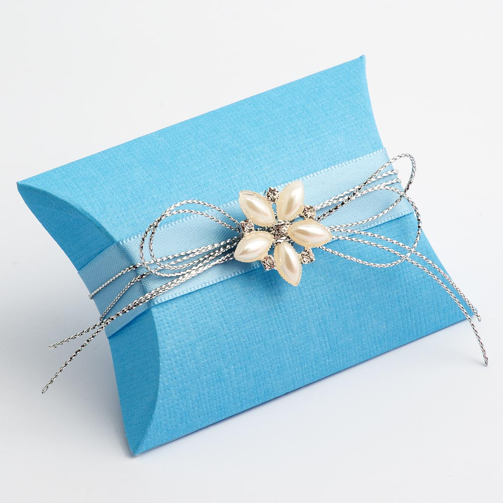 Blue Silk Pillow Favour Box