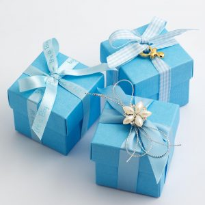 Blue Silk Square Favour Box with Lid