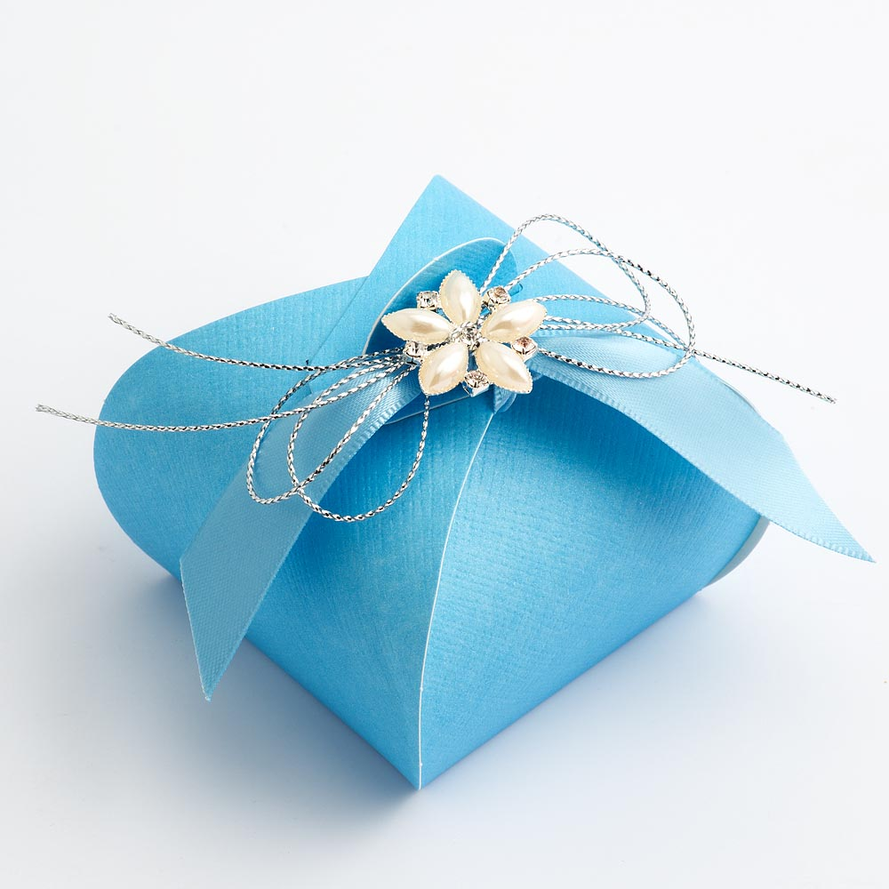 Blue Silk Tortina Favour Box