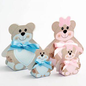 Blue Teddy Bear Favour Box - Small