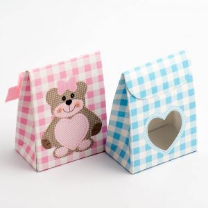 Blue Teddy Bear Sacchetto with Heart Window Favour Box