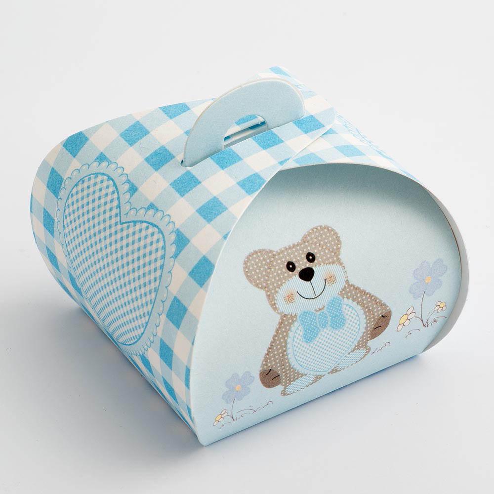 Blue Teddy Bear Tortina Favour Box - Large