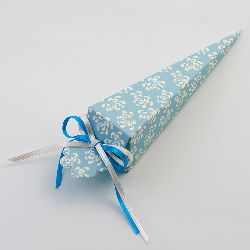 Blue Vintage Pattern Cone Favour Box
