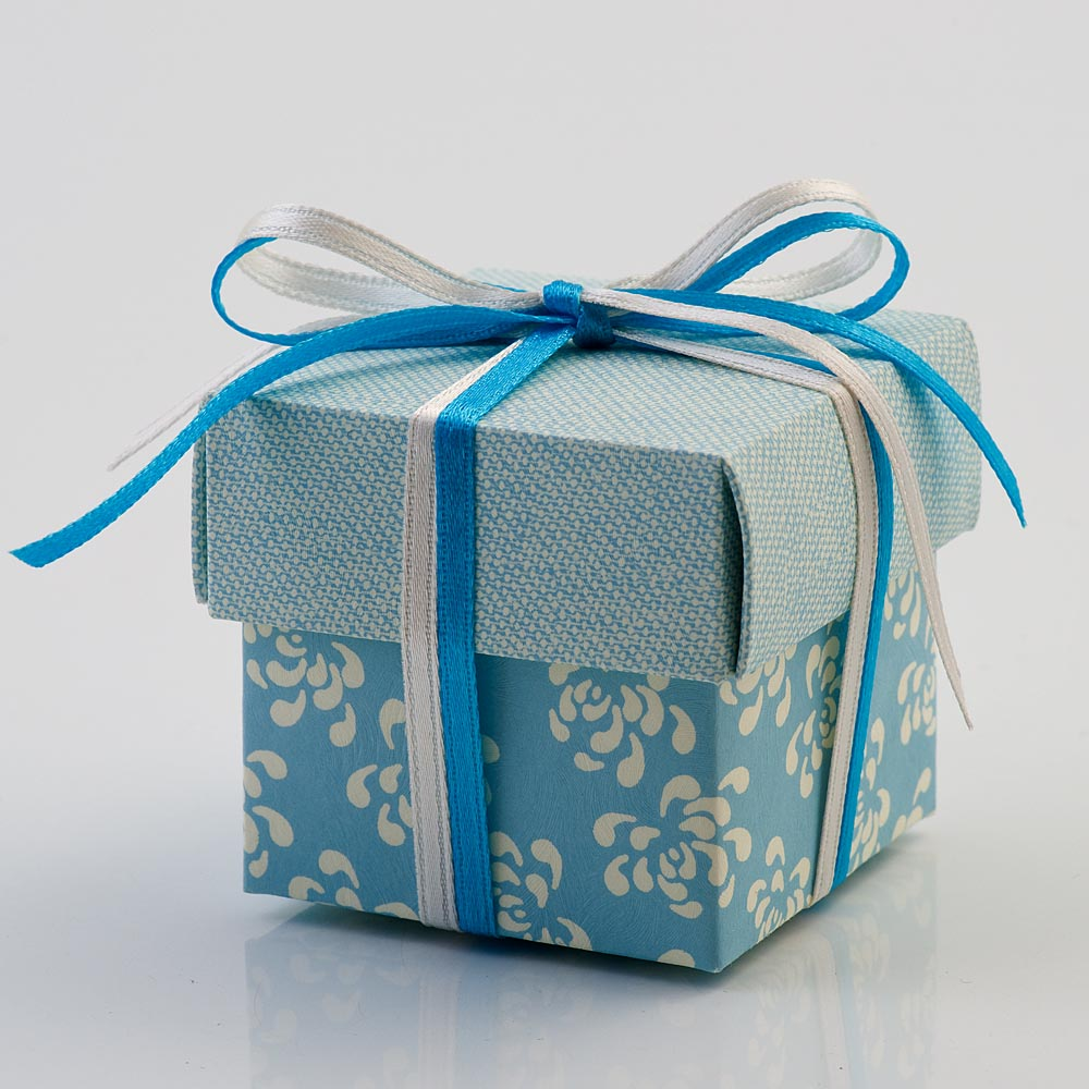 Blue Vintage Pattern Square Favour Box with Lid