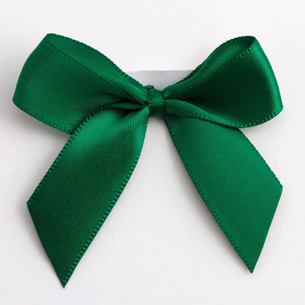 Bottle Green Satin Bows 12 Pack