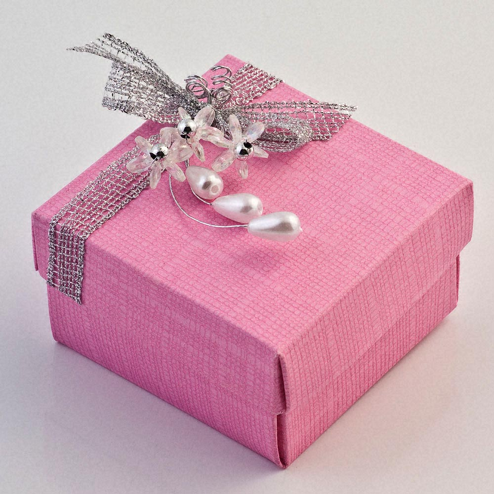 Bright Pink Silk Square Favour Box with Lid