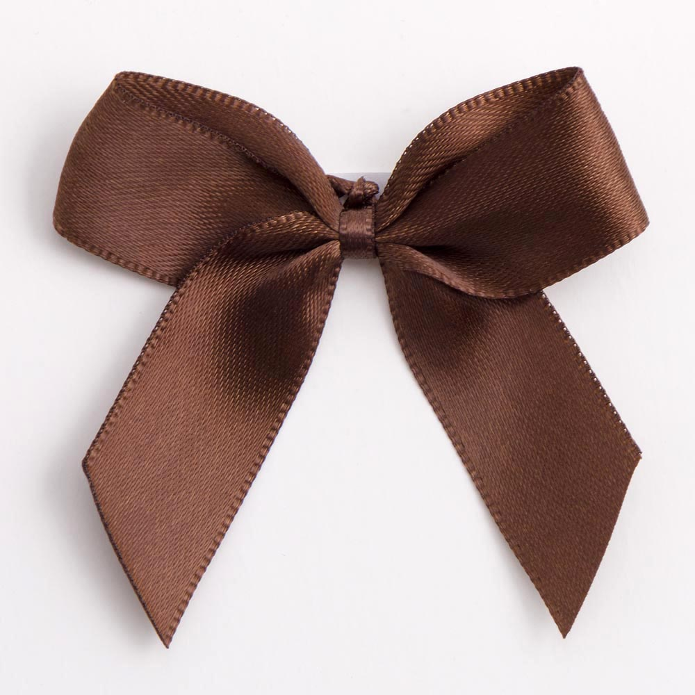 Brown Satin Bows 12 Pack