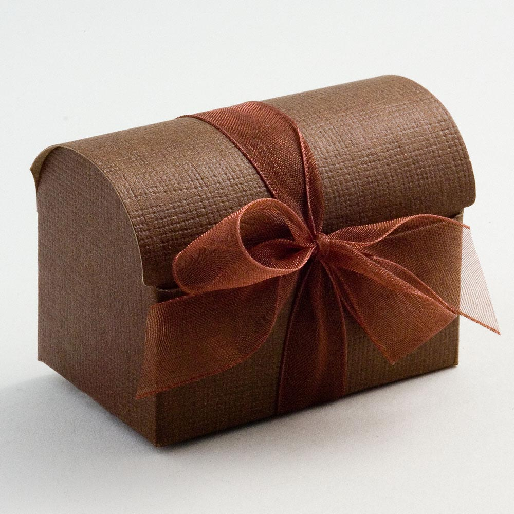 Brown Silk Cofanetto Favour Box